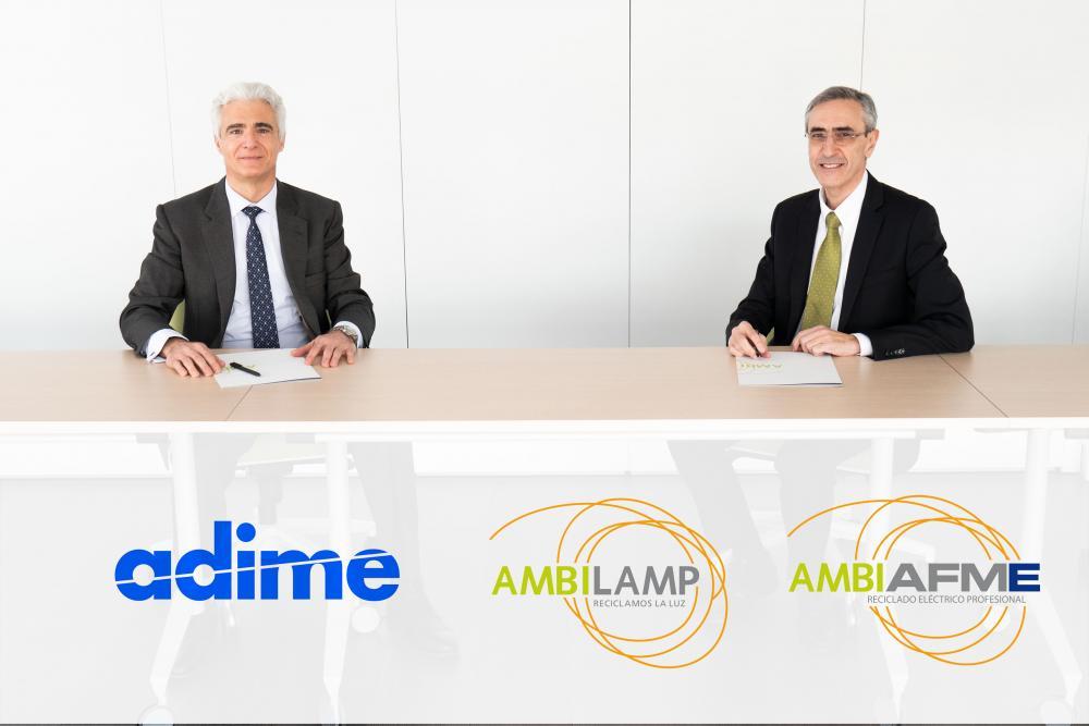 Firma de acuerdo entre AMBILAMP-AMBIAFME y ADIME